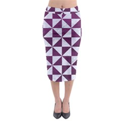 Triangle1 White Marble & Purple Leather Midi Pencil Skirt by trendistuff