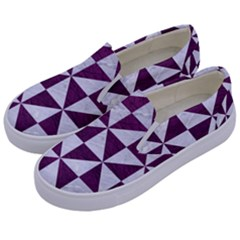Triangle1 White Marble & Purple Leather Kids  Canvas Slip Ons by trendistuff