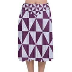 Triangle1 White Marble & Purple Leather Velvet Flared Midi Skirt by trendistuff