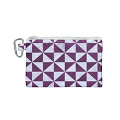 Triangle1 White Marble & Purple Leather Canvas Cosmetic Bag (small) by trendistuff