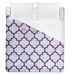 Tile1 White Marble & Purple Leather (r) Duvet Cover (queen Size)