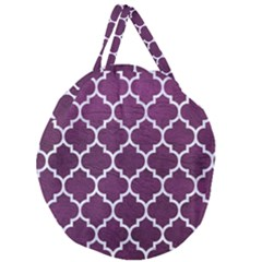 Tile1 White Marble & Purple Leather Giant Round Zipper Tote by trendistuff