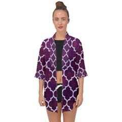 Tile1 White Marble & Purple Leather Open Front Chiffon Kimono
