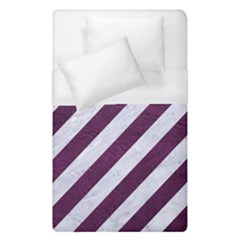 Stripes3 White Marble & Purple Leather (r) Duvet Cover (single Size)