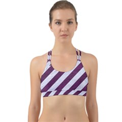 Stripes3 White Marble & Purple Leather (r) Back Web Sports Bra