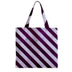 Stripes3 White Marble & Purple Leather Zipper Grocery Tote Bag by trendistuff