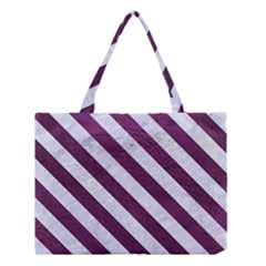 Stripes3 White Marble & Purple Leather Medium Tote Bag