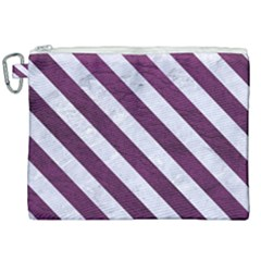 Stripes3 White Marble & Purple Leather Canvas Cosmetic Bag (xxl) by trendistuff