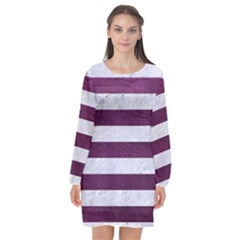Stripes2white Marble & Purple Leather Long Sleeve Chiffon Shift Dress  by trendistuff