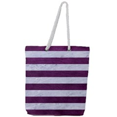 Stripes2white Marble & Purple Leather Full Print Rope Handle Tote (large) by trendistuff