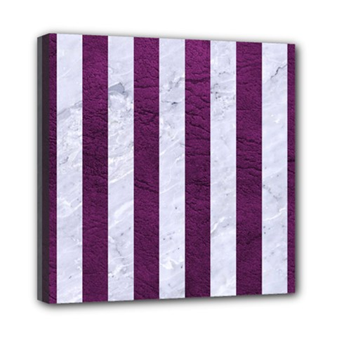 Stripes1 White Marble & Purple Leather Multi Function Bag