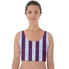 Stripes1 White Marble & Purple Leather Velvet Crop Top