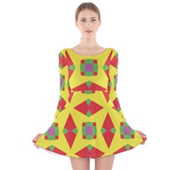 Orange Purple Lilac Yellow Green Geometric 59 Long Sleeve Velvet Skater Dress by CircusValleyMall