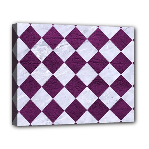 Square2 White Marble & Purple Leather Deluxe Canvas 20  X 16   by trendistuff