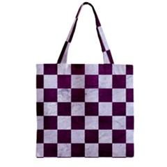 Square1 White Marble & Purple Leather Zipper Grocery Tote Bag by trendistuff
