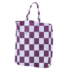 Square1 White Marble & Purple Leather Giant Grocery Zipper Tote by trendistuff