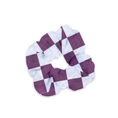 Square1 White Marble & Purple Leather Velvet Scrunchie by trendistuff