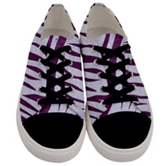 Skin3 White Marble & Purple Leather (r) Men s Low Top Canvas Sneakers
