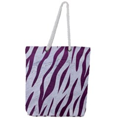 Skin3 White Marble & Purple Leather (r) Full Print Rope Handle Tote (large) by trendistuff