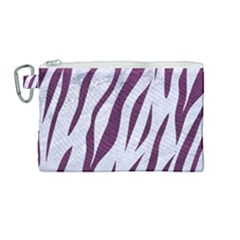 Skin3 White Marble & Purple Leather (r) Canvas Cosmetic Bag (medium) by trendistuff