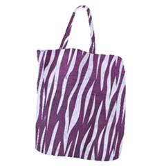 Skin3 White Marble & Purple Leather Giant Grocery Zipper Tote by trendistuff