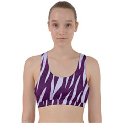Skin3 White Marble & Purple Leather Back Weave Sports Bra