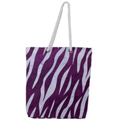 Skin3 White Marble & Purple Leather Full Print Rope Handle Tote (large) by trendistuff