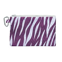 Skin3 White Marble & Purple Leather Canvas Cosmetic Bag (large) by trendistuff