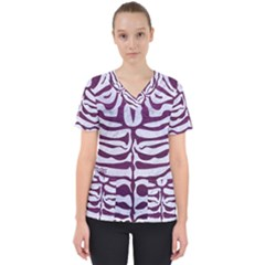 Skin2 White Marble & Purple Leather (r) Scrub Top by trendistuff