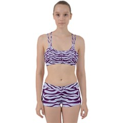 Skin2 White Marble & Purple Leather (r) Women s Sports Set