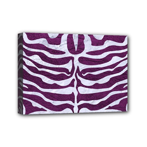 Skin2 White Marble & Purple Leather Mini Canvas 7  X 5  by trendistuff