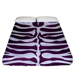 Skin2 White Marble & Purple Leather Fitted Sheet (queen Size) by trendistuff