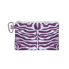 Skin2 White Marble & Purple Leather Canvas Cosmetic Bag (small) by trendistuff