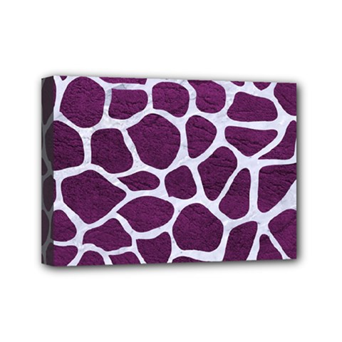 Skin1 White Marble & Purple Leather (r) Mini Canvas 7  X 5  by trendistuff