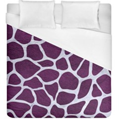 Skin1 White Marble & Purple Leather (r) Duvet Cover (king Size) by trendistuff