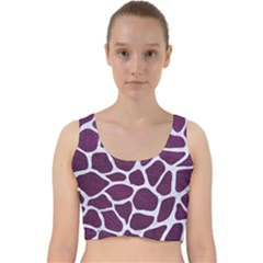 Skin1 White Marble & Purple Leather (r) Velvet Racer Back Crop Top
