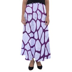 Skin1 White Marble & Purple Leather Flared Maxi Skirt