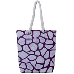 Skin1 White Marble & Purple Leather Full Print Rope Handle Tote (small) by trendistuff