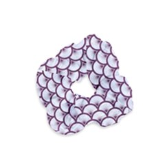 Scales3 White Marble & Purple Leather (r)scales3 White Marble & Purple Leather (r) Velvet Scrunchie by trendistuff