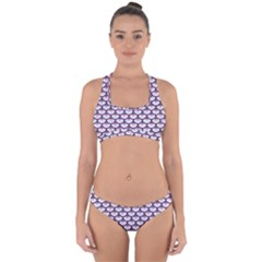 Scales3 White Marble & Purple Leather (r)scales3 White Marble & Purple Leather (r) Cross Back Hipster Bikini Set