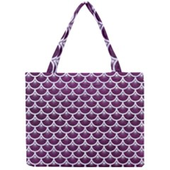 Scales3 White Marble & Purple Leather Mini Tote Bag by trendistuff