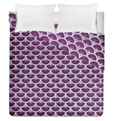 Scales3 White Marble & Purple Leather Duvet Cover Double Side (queen Size) by trendistuff
