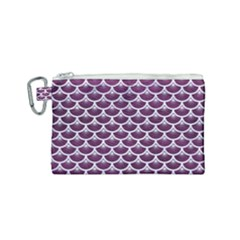 Scales3 White Marble & Purple Leather Canvas Cosmetic Bag (small) by trendistuff