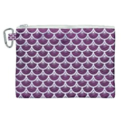 Scales3 White Marble & Purple Leather Canvas Cosmetic Bag (xl) by trendistuff