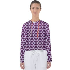 Scales3 White Marble & Purple Leather Women s Slouchy Sweat