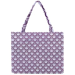 Scales2 White Marble & Purple Leather (r) Mini Tote Bag by trendistuff