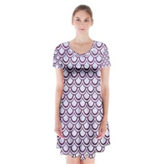 Scales2 White Marble & Purple Leather (r) Short Sleeve V Neck Flare Dress by trendistuff