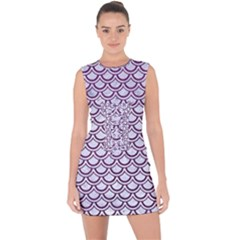 Scales2 White Marble & Purple Leather (r) Lace Up Front Bodycon Dress