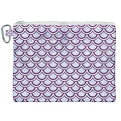 Scales2 White Marble & Purple Leather (r) Canvas Cosmetic Bag (xxl) by trendistuff