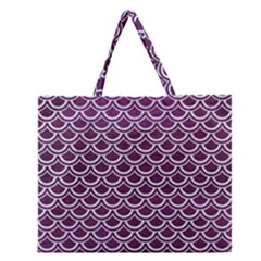 Scales2 White Marble & Purple Leather Zipper Large Tote Bag by trendistuff